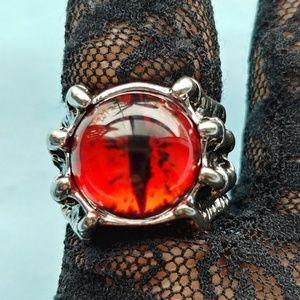 Steel Red Dragon Eye Adjustable Ring!